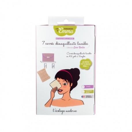 Kit Éco Belle mini - 7 carrés démaquillants lavables en coton biface Bio - Les Tendances d'Emma