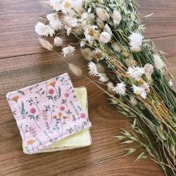Lot de 6 cotons bio à démaquiller lavables et réutilisables - Fleuris roses
