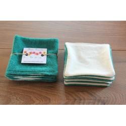 Lot de 6 cotons bio à démaquiller lavables et réutilisables - Vert sapin