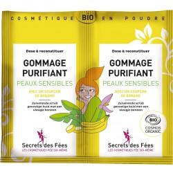 Gommage purifiant peaux sensibles Bio - 2 sachets de 4g - Secrets des Fées