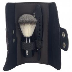 Kit Brown Wallet avec blaireau, shavette et trousse de rangement - Man's Beard