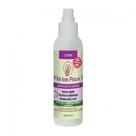 Lotion anti-poux et lentes 100% d'origine naturelle - 125ml - Fini les poux